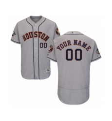 Men's Houston Astros Customized Grey Road Flex Base Authentic Collection 2019 World Series Bound Baseball Jersey