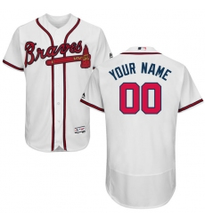 Men's Atlanta Braves Majestic Home White Flex Base Authentic Collection Custom Jersey
