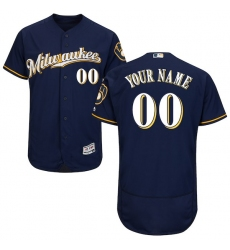 Men's Milwaukee Brewers Majestic Alternate Road Navy Flex Base Authentic Collection Custom Jersey