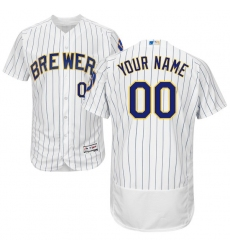 Men's Milwaukee Brewers Majestic Alternate White/Royal Flex Base Authentic Collection Custom Jersey