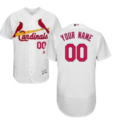 Men's St. Louis Cardinals Majestic Home White Flex Base Authentic Collection Custom Jersey