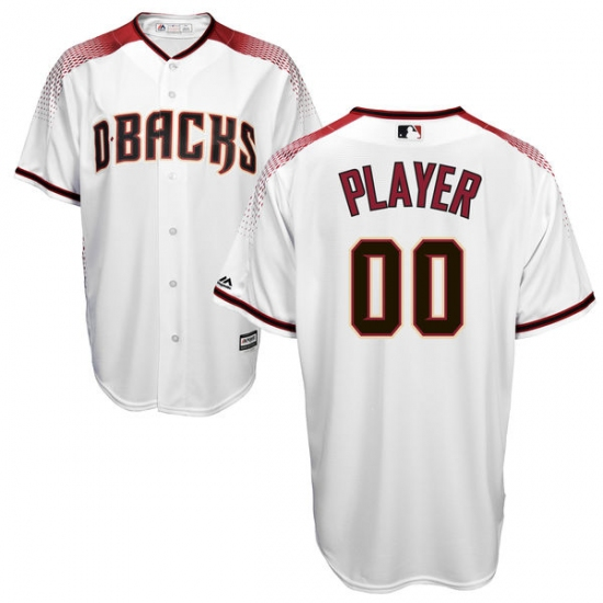 Men's Arizona Diamondbacks Majestic White/Sedona Red Cool Base Custom Jersey