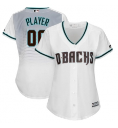 Women's Arizona Diamondbacks Majestic White/Aqua Alternate Cool Base Custom Jersey
