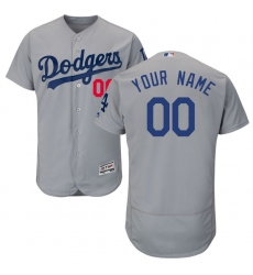 Men's Los Angeles Dodgers Majestic Alternate Road Gray Flex Base Authentic Collection Custom Jersey
