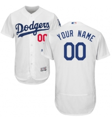 Men's Los Angeles Dodgers Majestic Home White Flex Base Authentic Collection Custom Jersey