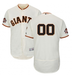 Men's San Francisco Giants Majestic Ivory Home On-Field 60th Season Patch Flex Base Custom Jersey