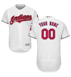 Men's Cleveland Indians Majestic Home White Flex Base Authentic Collection Custom Jersey