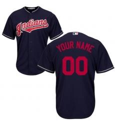 Men's Cleveland Indians Majestic Navy Cool Base Custom Jersey