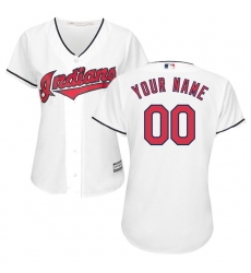 Women's Cleveland Indians Majestic White Home Cool Base Custom Jersey