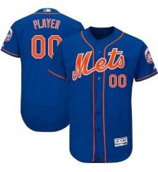 Men's New York Mets Majestic Royal/Orange 2017 Alternate Authentic Collection Flex Base Custom Jersey