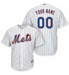 Men's New York Mets Majestic White/Royal Home Cool Base Custom Jersey