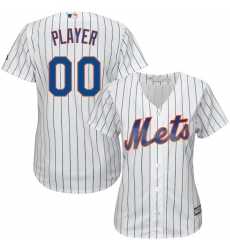 Women's New York Mets Majestic White/Royal Home Cool Base Custom Jersey