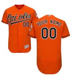 Men's Baltimore Orioles Majestic Alternate Orange Flex Base Authentic Collection Custom Jersey