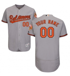 Men's Baltimore Orioles Majestic Road Gray Flex Base Authentic Collection Custom Jersey