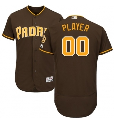 Men's San Diego Padres Majestic Brown Alternate Flex Base Authentic Collection Custom Jersey