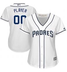 Women's San Diego Padres Majestic White 2017 Cool Base Custom Baseball Jersey