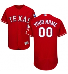 Men's Texas Rangers Majestic Alternate Scarlet Flex Base Authentic Collection Custom Jersey