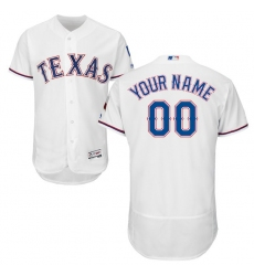Men's Texas Rangers Majestic Home White Flex Base Authentic Collection Custom Jersey