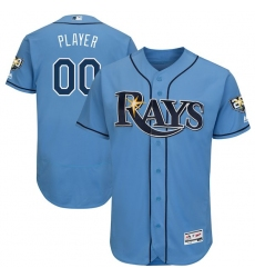 Men's Tampa Bay Rays Majestic Light Blue 20th Anniversary Alternate On-Field Patch Flex Base Custom Jersey