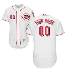 Men's Cincinnati Reds Majestic Home White Flex Base Authentic Collection Custom Jersey