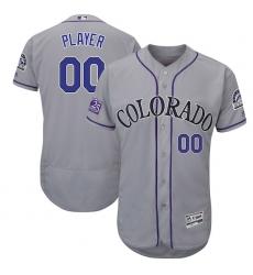 Men's Colorado Rockies Majestic Gray 25th Season Patch On-Field Flex Base Custom Jersey