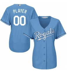 Women's Kansas City Royals Majestic Light Blue Cool Base Custom Alternate Jersey