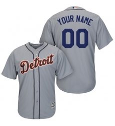 Men's Detroit Tigers Majestic Gray Cool Base Custom Jersey