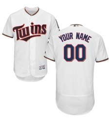 Men's Minnesota Twins Majestic Home White Flex Base Authentic Collection Custom Jersey