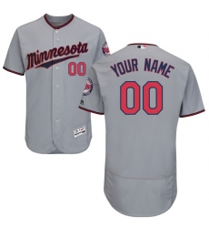 Men's Minnesota Twins Majestic Road Gray Flex Base Authentic Collection Custom Jersey