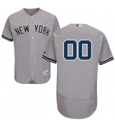 Men's New York Yankees Majestic Road Gray Flex Base Authentic Collection Custom Jersey