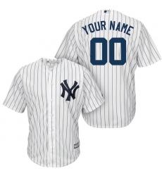Men's New York Yankees Majestic White/Navy Home Cool Base Custom Jersey