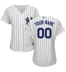 Women's New York Yankees Majestic White/Navy Home Cool Base Custom Jersey