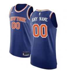 Men's New York Knicks Nike Blue Authentic Custom Jersey - Icon Edition