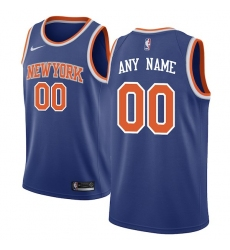 Men's New York Knicks Nike Blue Swingman Custom Jersey - Icon Edition