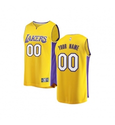 Youth Los Angeles Lakers Fanatics Branded Gold 2017/18 Fast Break Custom Replica Jersey - Icon Edition