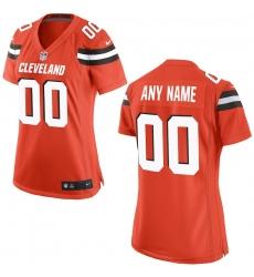 Nike Cleveland Browns Womens Orange Custom Game Jersey