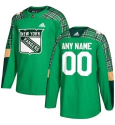 Men's New York Rangers adidas Green St. Patrick's Day Custom Practice Jersey