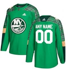 Men's New York Islanders adidas Green St. Patrick's Day Custom Practice Jersey