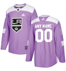 Men's Los Angeles Kings adidas Purple Hockey Fights Cancer Custom Practice Jersey