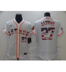 Men's Houston Astros #27 Jose Altuve White 2020 Stars & Stripes 4th of July Jersey