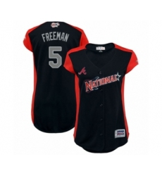 Women's Atlanta Braves #5 Freddie Freeman Authentic Navy Blue National League 2019 Baseball All-Star Jersey