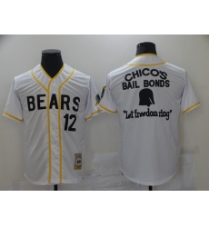 Bad News Bears #12 Chico's Bail White Bonds - Let Freedom Ring Button-Down Baseball Jersey