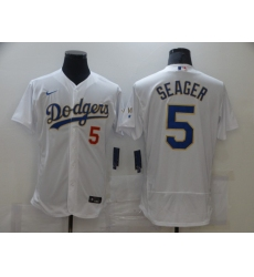 Men's Nike Los Angeles Dodgers #5 Corey Seager White Champions Authentic Jersey