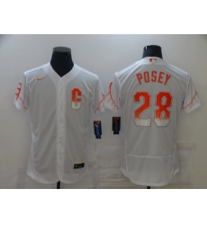 Men's San Francisco Giants #28 Buster Posey White 2021 City Connect Replica Player Jersey