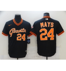Men's Nike San Francisco Giants #24 Willie Mays Authentic Black Gold Fashion Jersey