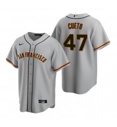 Men's Nike San Francisco Giants #47 Johnny Cueto Gray Road Stitched Baseball Jersey