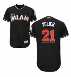 Men's Majestic Miami Marlins #21 Christian Yelich Black Alternate Flex Base Authentic Collection MLB Jersey