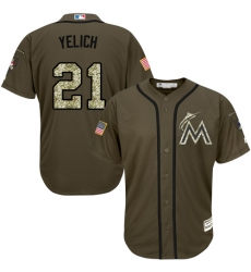 Youth Majestic Miami Marlins #21 Christian Yelich Replica Green Salute to Service MLB Jersey