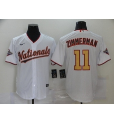 Men's Nike Washington Nationals #11 Ryan Zimmerman White Gold Home Stitched Baseball Jersey