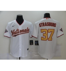Men's Nike Washington Nationals #37 Stephen Strasburg White Gold Home Stitched Baseball Jersey
